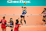 Wing spiker Risa Shinnabe of Japan (C) spikes the ball during the FIVB Volleyball World Grand Prix match between Japan vs Russia on 23 July 2017 in Hong Kong, China. Photo by Marcio Rodrigo Machado / Power Sport Images