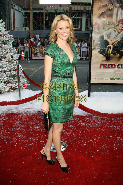 "ELIZABETH BANKS.""Fred Claus"" Los Angeles Premiere held at Grauman's Chinese Theatre, Hollywood, California, USA..November 3rd, 2007.full length green black print dress pattern leopard clutch purse belt .CAP/ADM/RE.©Russ Elliot/AdMedia/Capital Pictures."