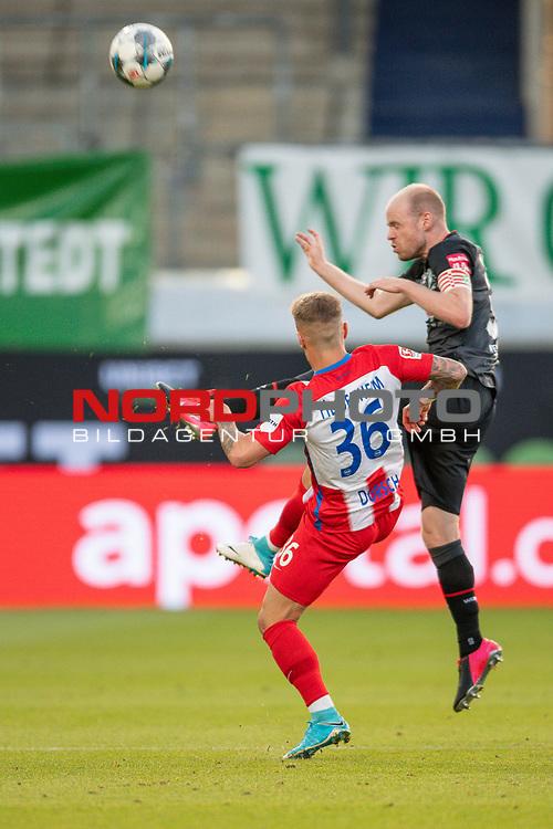 Niklas Dorsch (FC Heidenheim, #36), Davy Klaassen (SV Werder Bremen, #30),<br /> <br /> GER, FC Heidenheim vs. Werder Bremen, Fussball, Bundesliga Religation, 2019/2020, 06.07.2020,<br /> <br /> DFB/DFL regulations prohibit any use of photographs as image sequences and/or quasi-video., <br /> <br /> <br /> Foto: EIBNER/Sascha Walther/Pool/gumzmedia/nordphoto