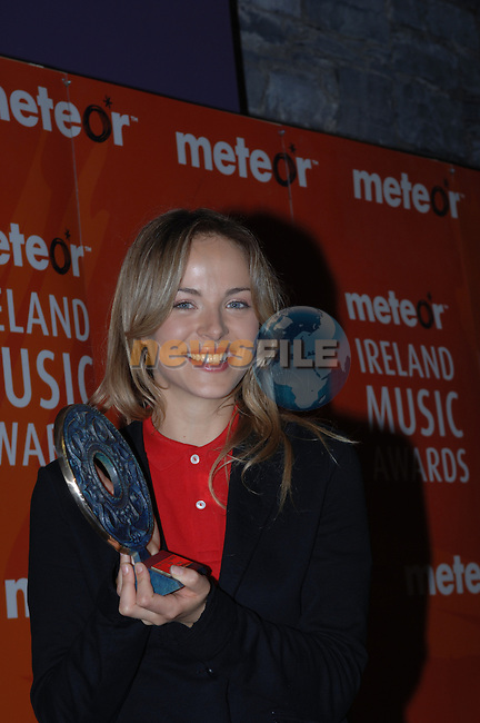 Gemma Hayes at the 2006 Meteor Awards in Dublin.....Photo NEWSFILE/Colin Bell.(Photo credit should read Colin Bell/NEWSFILE)....This Picture has been sent you under the condtions enclosed by:.Newsfile Ltd..The Studio,.Millmount Abbey,.Drogheda,.Co Meath..Ireland..Tel: +353(0)41-9871240.Fax: +353(0)41-9871260.GSM: +353(0)86-2500958.email: pictures@newsfile.ie.www.newsfile.ie.FTP: 193.120.102.198..