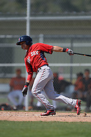 Boston Red Sox Carlos Tovar (5) during a minor league spring training game against the Baltimore Orioles on March 18, 2015 at Buck O'Neil Complex in Sarasota, Florida.  (Mike Janes/Four Seam Images)