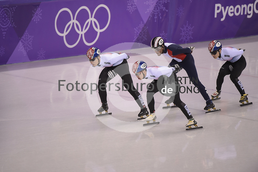 OLYMPIC GAMES: PYEONGCHANG: 17-02-2018, Gangneung Ice Arena, Short Track, Quarterfinals 1000m Men, Hwang Dae Heon (KOR), Lim Hyo Jun (KOR), Thibaut Fauconnet (FRA), Seo Yi Ra (KOR), ©photo Martin de Jong