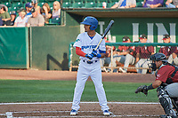 Jeremy Arocho (8) of the Ogden Raptors bats against the Idaho Falls Chukars at Lindquist Field on July 2, 2018 in Ogden, Utah. The Raptors defeated the Chukars 11-7. (Stephen Smith/Four Seam Images)
