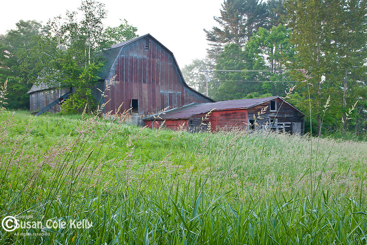 An old red barn in Brownsville, West Windsor, VT, USA