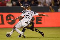 LA Galaxy defender Leonardo battle with Columbus Crew forward Emilio Renteria. The LA Galaxy defeated the Columbus Crew 3-1 at Home Depot Center stadium in Carson, California on Saturday Sept 11, 2010.