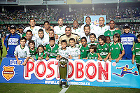 CALI- COLOMBIA -02 -02-2014: Los jugadores del Deportivo Cali, posan para una foto durante partido de la segunda fecha de la Liga Postobon I 2014, jugado en el estadio Pascual Guerrero de la ciudad de Cali./ Los jugadores of Deportivo Cali pose for a photo during a match for the second date of the Liga Postobon I 2014 at the Pascual Guerrero Stadium in Cali city. Photo: VizzorImage / Juan C Quintero / Str