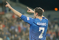 Getafe's Alvaro Vazquez celebrates during La Liga match. February 01, 2013. (ALTERPHOTOS/Alvaro Hernandez) /NortePhoto