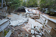 """The Basin"" in Franconia Notch State Park of Lincoln, New Hampshire USA during the spring months. Flooding caused damage to the viewing area"
