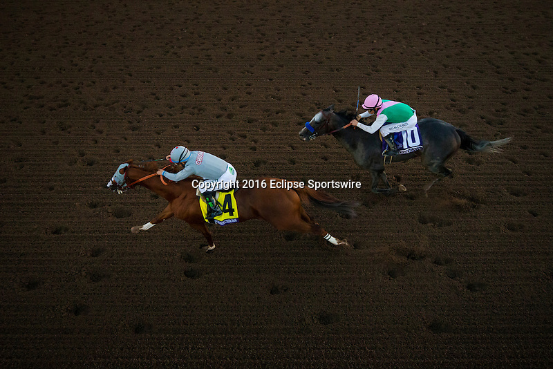 ARCADIA, CA - NOVEMBER 05: California Chrome # 4, ridden by Victor Espinoza  clings to a lead inside the 1/8th pole as Arrogate #10, ridden by Mike Smith,  rally on the outside to win the Breeders' Cup Classic during day two of the 2016 Breeders' Cup World Championships at Santa Anita Park on November 5, 2016 in Arcadia, California. (Photo by Alex Evers/Eclipse Sportswire/Breeders Cup)