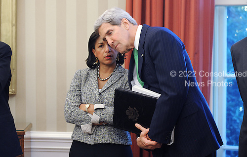 National Security Advisor Susan Rice, left, and United States Secretary of State John Kerry attend a meeting between Prime Minister Nouri Al-Maliki of Iraq and U.S. President Barack Obama in the Oval Office at the White House, Friday, November 1, 2013 in Washington, DC.  <br /> Credit: Olivier Douliery / Pool via CNP