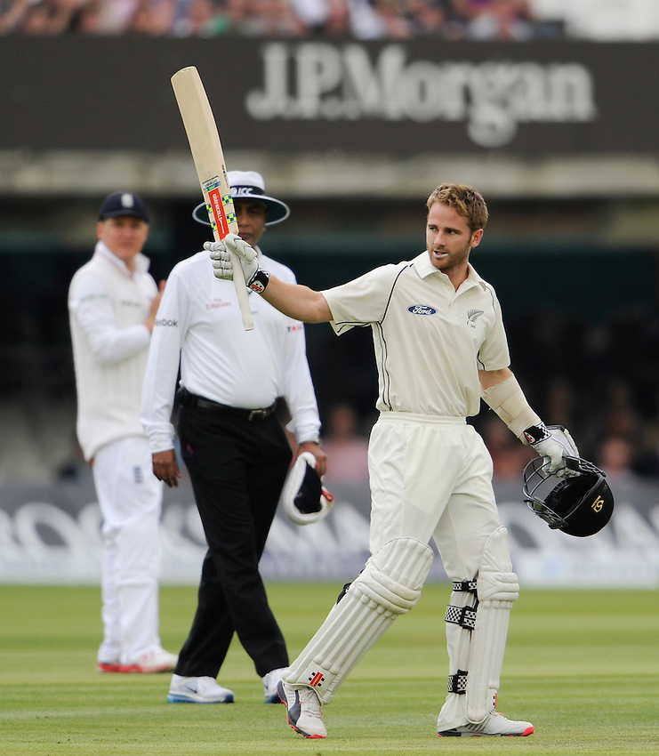 New Zealand's Kane Williamson celebrates his century at Lord's<br /> <br /> Photographer Ashley Western/CameraSport<br /> <br /> International Cricket - 1st Investec Test Match - England v New Zealand - Day 3 - Saturday 23rd May 2015 - Lord's, London <br /> <br /> &copy; CameraSport - 43 Linden Ave. Countesthorpe. Leicester. England. LE8 5PG - Tel: +44 (0) 116 277 4147 - admin@camerasport.com - www.camerasport.com