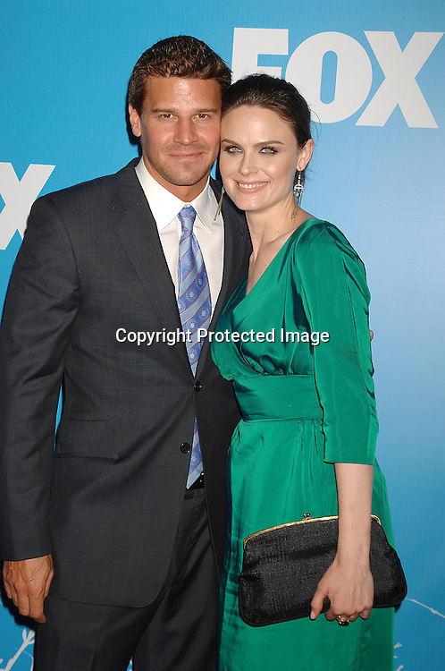 "David Boreanaz and Emily Deschanel of ""Bones""..arriving at The FOX TV Upfront on May 17, 2007 at ..Wolman Rink in Central Park in New York City. ..Robin Platzer, Twin Images........212-935-0770"