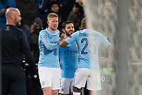 Manchester City's Bernardo Silva celebrates scoring his side's second goal with team-mates <br /> <br /> Photographer Craig Mercer/CameraSport<br /> <br /> UEFA Champions League Round of 16 First Leg - Basel v Manchester City - Tuesday 13th February 2018 - St Jakob-Park - Basel<br />  <br /> World Copyright &copy; 2018 CameraSport. All rights reserved. 43 Linden Ave. Countesthorpe. Leicester. England. LE8 5PG - Tel: +44 (0) 116 277 4147 - admin@camerasport.com - www.camerasport.com