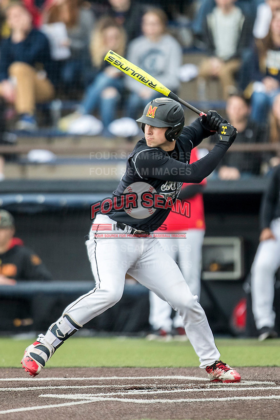 Maryland Terrapins catcher Justin Morris (10) at bat against the Michigan Wolverines on April 13, 2018 in a Big Ten NCAA baseball game at Ray Fisher Stadium in Ann Arbor, Michigan. Michigan defeated Maryland 10-4. (Andrew Woolley/Four Seam Images)