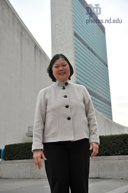 Dean Carolyn Woo outside United Nations headquarters, New York City..Photo by Matt Cashore/University of Notre Dame