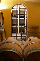 Domaine Haut-Lirou in St Jean de Cuculles. Pic St Loup. Languedoc. Bottle cellar. France. Europe.