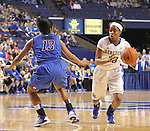 UK guard Bria Goss, defends the ball against DePaul. The University of Kentucky Women's Basketball team hosted DePaul University Friday, Dec 07, 2012 at Rupp Arena in Lexington. Photo by Kirsten Holliday....