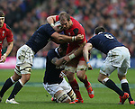 Alun Wyn Jones of Wales charges through the tackle - RBS 6Nations 2015 - Scotland  vs Wales - BT Murrayfield Stadium - Edinburgh - Scotland - 15th February 2015 - Picture Simon Bellis/Sportimage