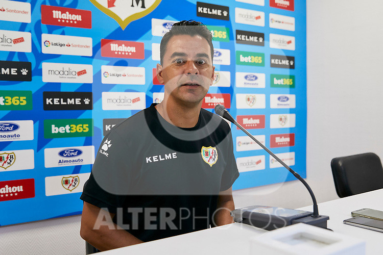 Miguel Angel Sanchez 'Michel' during a Press conference at Vallecas Stadium in Madrid, Spain. August 24, 2018. (ALTERPHOTOS/A. Perez Meca)