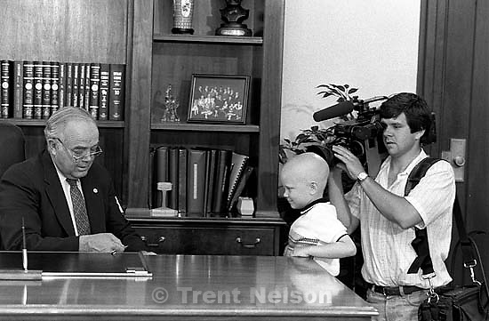 Terminally ill boy Jason Overman meets with Utah Governor Norm Bangerter.<br />