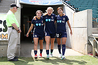 Cary, North Carolina  - Sunday May 21, 2017: Samantha Witteman, Makenzy Doniak, and Yuri Kawamura prior to a regular season National Women's Soccer League (NWSL) match between the North Carolina Courage and the Chicago Red Stars at Sahlen's Stadium at WakeMed Soccer Park. Chicago won the game 3-1.