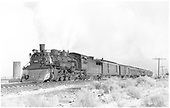 #488 with southbound passenger train - RPO, baggage and 7 coaches - San Luis Valley.<br /> D&amp;RGW  Romeo, CO  Taken by Richardson, Robert W. - 1/31/1951