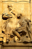 Bas relief sculptures on the Hungarian National Bank building, Budapest, Hungary
