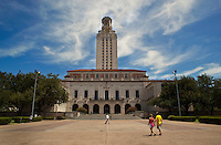 Austin University campus courtyard with Clock Tower in the blue skies