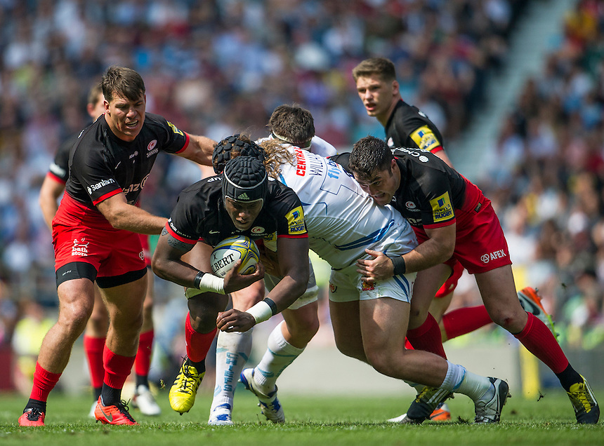 Maro Itoje of Saracens in action during todays match<br /> <br /> Photographer Ashley Western/CameraSport<br /> <br /> Rugby Union - Aviva Premiership Final - Saracens v Exeter Chiefs - Saturday 28th May 2016 - Twickenham Stadium, Twickenham, London  <br /> <br /> World Copyright &copy; 2016 CameraSport. All rights reserved. 43 Linden Ave. Countesthorpe. Leicester. England. LE8 5PG - Tel: +44 (0) 116 277 4147 - admin@camerasport.com - www.camerasport.com