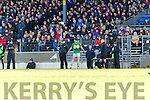 Kerry Bryan Sheehan tries to explain his red card to an angry Eamon Fitzmaurice  during their NFL clash in Fitzgerald Stadium on Sunday