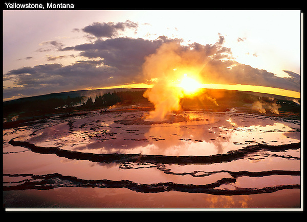 If you can't get the camera high enough, put it on a tripod and hold it over you head. Use the timer, of course.<br /> Orbit hot springs at sunset, Yellowstone National Park, Montana. John offers private photo tours in Glacier National Park and throughout Montana and Colorado. Year-round.