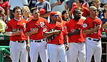 17 August 2008: Members of the Washington Nationals, left to right: Austin Kearns, Ryan Zimmerman, Ronnie Belliard, Cristian Guzman and Manager Manny Acta, stand at attention as the Color Guard arrives on field prior to a game against the Colorado Rockies at Nationals Park in Washington, DC.  The Rockies defeated the Nationals 7-2, sweeping the 3-game series, and handing the last place Nationals their 10th consecutive loss. ..Mandatory Photo Credit: Ed Wolfstein Photo