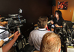 "SIOUX FALLS, SD - JULY 12:  Rock star Alice Cooper talks to the media at the dedication of the ""Welcome to my Nightmare"" studio at the Brennan Rock & Roll Academy Friday afternoon in Sioux Falls, SD.  (Photo by Dave Eggen/Inertia)"