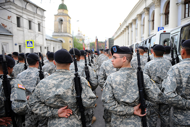 US soldiers from C company, 2nd Battalion, 18th Infantry Regiment, 170th Infantry Brigade Combat Team, waited near Red Square in Moscow to take part in a rehearsal for Sunday's traditional Victory Day parade marking the 65th anniversary of the end of WWII, and this time, for the first time, will include servicemen from Allied forces. Moscow, Russia, May 4, 2010