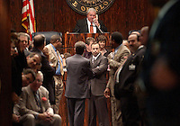 TALLAHASSEE, FL. 5/2/03-As the members of his chamber wait, Senate President Jim King, R-Jacksonville, talks on the phone with House Speaker Johnnie Byrd, R-Plant, as they prepare to gavel out the regular legislative session Friday at the Capitol in Tallahassee. They adjourned without passing a budget and many of the major issues. COLIN HACKLEY PHOTO