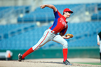 Cal Quantrill #8 of Trinity College School in Port Hope, Ontario, Canada playing for the Philadelphia Phillies scout team during the East Coast Pro Showcase at Alliance Bank Stadium on August 2, 2012 in Syracuse, New York.  (Mike Janes/Four Seam Images)