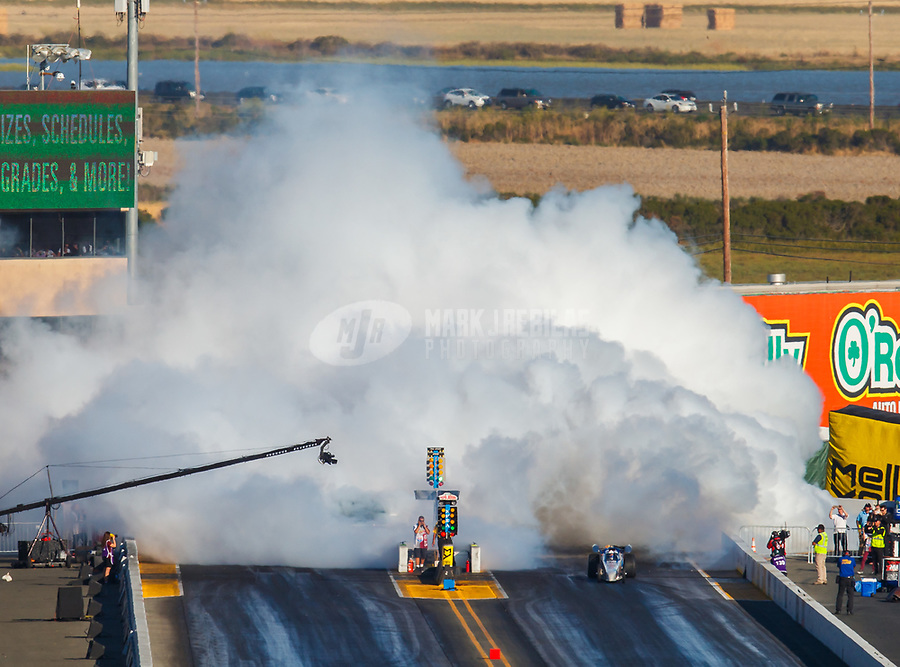 Jul 29, 2017; Sonoma, CA, USA; NHRA jet dragster driver Tom Bogner launches off the starting line during qualifying for the Sonoma Nationals at Sonoma Raceway. Mandatory Credit: Mark J. Rebilas-USA TODAY Sports