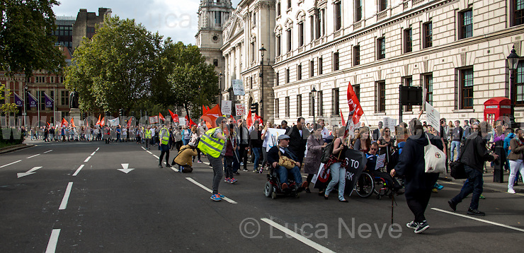 London, 26/09/2015. Today, hundreds of people held a march from Old Palace Yard to Downing Street to protest against the introduction of new rules in the British Government's Access to Work scheme which is designed to help and support deaf and disable people to work. From the organisers Facebook page: &lt;&lt;[&hellip;] The Department of Work and Pension's Access to Work scheme is supposed to make sure that Deaf and disabled people are able to work on an equal basis to non-disabled people. But... they are cutting our access, so we are losing our jobs and finding it even harder to get new ones. We want to work and have careers, but the Government won't let us. [&hellip;]&gt;&gt;.<br />