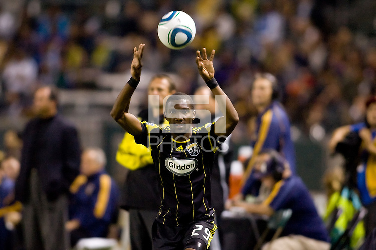 Columbus Crew defender Shaun Francis with a throw in. The LA Galaxy defeated the Columbus Crew 3-1 at Home Depot Center stadium in Carson, California on Saturday Sept 11, 2010.