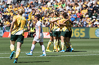 9th November 2019; Bankwest Stadium, Parramatta, New South Wales, Australia; International Womens Friendly Football, Australia versus Chile; Sam Kerr of Australia is congratulated by teammates after scoring a goal to make it 1-0 in the 3rd minute - Editorial Use