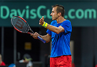 The Hague, The Netherlands, September 17, 2017,  Sportcampus , Davis Cup Netherlands - Chech Republic, Fifth match : Lukas Rosol (CZE) gets frustrated<br /> Photo: Tennisimages/Henk Koster