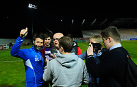 Lincoln City manager Danny Cowley acknowledges the fans during this post-match press conference<br /> <br /> Photographer Chris Vaughan/CameraSport<br /> <br /> The EFL Sky Bet League Two Play Off Second Leg - Exeter City v Lincoln City - Thursday 17th May 2018 - St James Park - Exeter<br /> <br /> World Copyright &copy; 2018 CameraSport. All rights reserved. 43 Linden Ave. Countesthorpe. Leicester. England. LE8 5PG - Tel: +44 (0) 116 277 4147 - admin@camerasport.com - www.camerasport.com