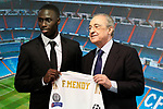 Real Madrid's new player Ferland Mendy (l) with the President Florentino Perez during his official presentation. June 19, 2019. (ALTERPHOTOS/Acero)