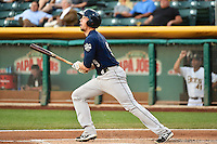 Kyle Skipworth (9) of the New Orleans Zephyrs at bat against the Salt Lake Bees in Pacific Coast League action at Smith's Ballpark on August 27, 2014 in Salt Lake City, Utah.  (Stephen Smith/Four Seam Images)