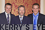 Former GAA president Sean Kelly who presented  the awards at the Limerick West Board All Star Banquet awards night held in The Devon Inn, Templeglantine, last Saturday. l-r: Con Begley, Mountcollins(Junior A football), Sean Kelly and Tom McCarthy,Allaghaun Gaels(U18B Hurling)