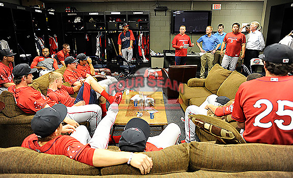 Manager Darren Fenster speaks to members of the Greenville Drive on the team's Media Day first workout on Tuesday, April 1, 2014, at Fluor Field at the West End in Greenville, South Carolina. (Tom Priddy/Four Seam Images)