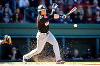 Shortstop Marcus Mooney (8) of the South Carolina Gamecocks hits in the Reedy River Rivalry game against the Clemson Tigers on March 1, 2014, at Fluor Field at the West End in Greenville, South Carolina. South Carolina won, 10-2.  (Tom Priddy/Four Seam Images)