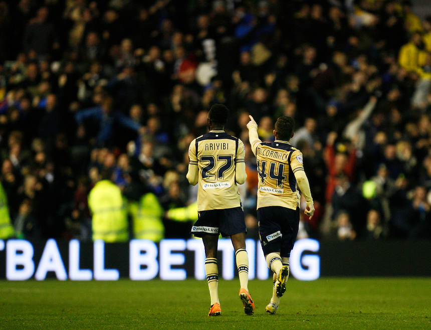 Leeds United's Ross McCormack (R) celebrates scoring his sides first goal <br /> <br /> Photo by Jack Phillips/CameraSport<br /> <br /> Football - The Football League Sky Bet Championship - Nottingham Forest v Leeds United - Sunday 29th December 2013 - The City Ground - Nottingham<br /> <br /> &copy; CameraSport - 43 Linden Ave. Countesthorpe. Leicester. England. LE8 5PG - Tel: +44 (0) 116 277 4147 - admin@camerasport.com - www.camerasport.com