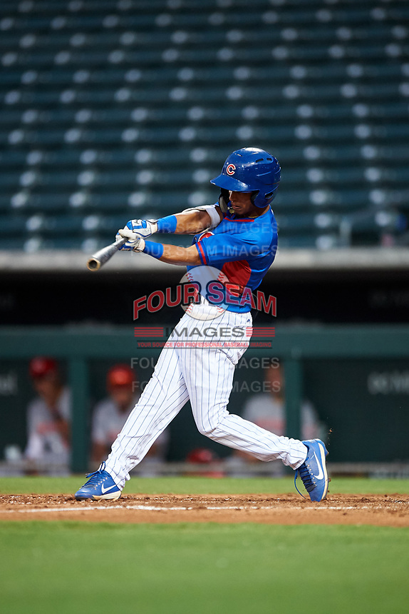 AZL Cubs 2 Rochest Cruz (1) at bat during an Arizona League game against the AZL Reds on July 23, 2019 at Sloan Park in Mesa, Arizona. AZL Cubs 2 defeated the AZL Reds 5-3. (Zachary Lucy/Four Seam Images)