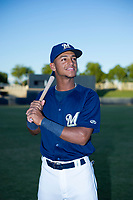 AZL Brewers Pablo Abreu (2) poses for a photo prior to a game against the AZL Cubs at Maryvale Baseball Park in Phoenix, Arizona. AZL Cubs defeated the AZL Brewers 9-1. (Zachary Lucy/Four Seam Images)